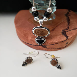 Jewelry - Brown/black/silver necklace and earring set